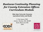 Business Continuity Planning for County Extension Offices Curriculum Module