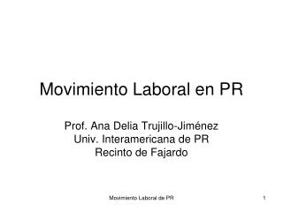 Movimiento Laboral en PR