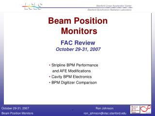 Beam Position  Monitors FAC Review October 29-31, 2007