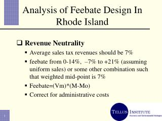 Analysis of Feebate Design In Rhode Island