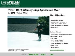 ROOF MATE Step-By-Step Application Over  EPDM ROOFING