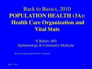 Back to Basics, 2010 POPULATION HEALTH (3A): Health Care Organization and Vital Stats