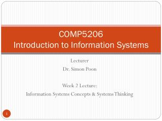 COMP5206 Introduction to Information Systems