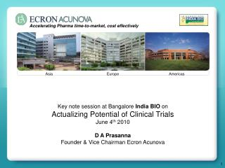 Key note session at Bangalore  India BIO  on  Actualizing Potential of Clinical Trials