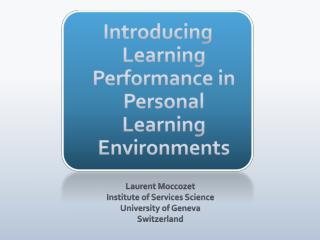 Introducing Learning Performance in Personal Learning Environments