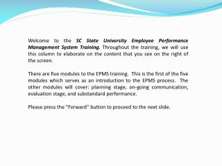 SC State University Online Seminar Introduction to Employee Performance Management System