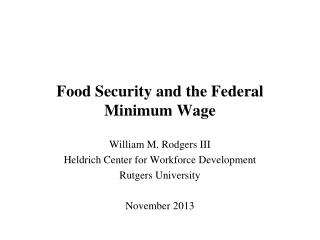 Food Security and the Federal Minimum Wage