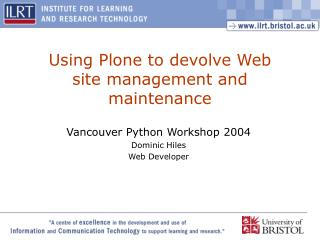 Using Plone to devolve Web site management and maintenance