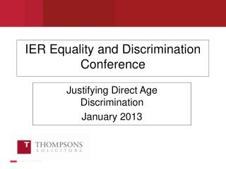 IER Equality and Discrimination Conference