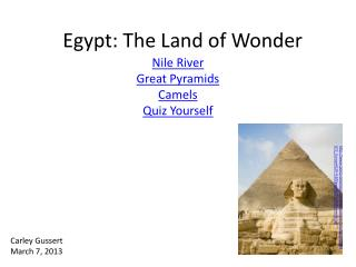 Egypt: The Land of Wonder