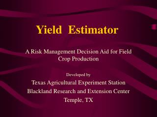 Yield  Estimator