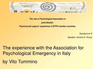 The role of Psychological Association in  post-disaster.