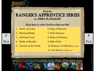 Read the Ranger's Apprentice Series by  John Flanagan Read them in order! You'll be Glad you Did!