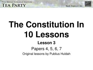 The Constitution In 10 Lessons