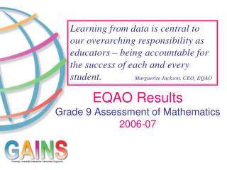 EQAO Results Grade 9 Assessment of Mathematics 2006-07