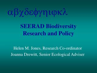 SEERAD Biodiversity Research and Policy
