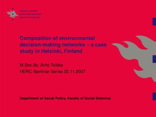 Composition of environmental decision-making networks – a case study in Helsinki, Finland