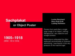Sachplakat or Object Poster