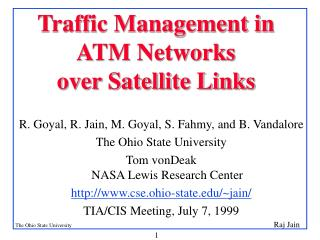 Traffic Management in ATM Networks   over Satellite Links