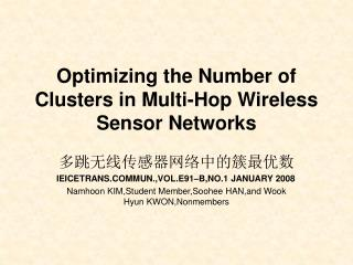 Optimizing the Number of Clusters in Multi-Hop Wireless Sensor Networks