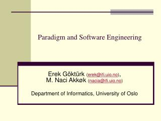 Paradigm and Software Engineering