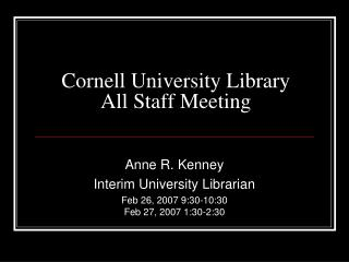 Cornell University Library All Staff Meeting