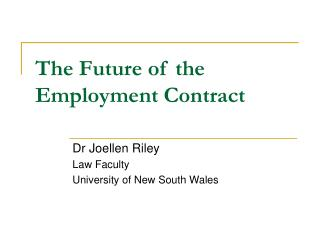 The Future of the Employment Contract