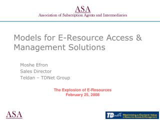 Models for E-Resource Access & Management Solutions