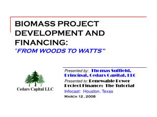 """BIOMASS PROJECT DEVELOPMENT AND FINANCING: """" FROM WOODS TO WATTS"""""""