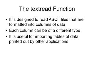The textread Function