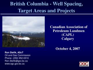 British Columbia - Well Spacing,  Target Areas and Projects