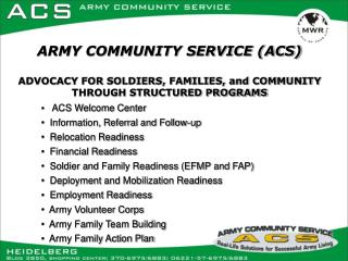 ACS Welcome Center   Information, Referral and Follow-up   Relocation Readiness