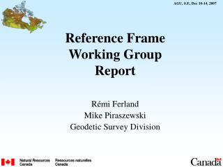 Reference Frame Working Group Report