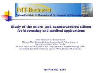 Study of the micro- and nanostructured silicon  for bio sensing and  medical applications