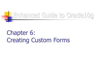 Enhanced Guide to Oracle10g