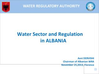 Water Sector and Regulation  in ALBANIA