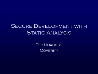 Secure Development with Static Analysis