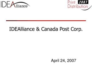 IDEAlliance & Canada Post Corp.