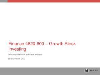 Finance 4820-800 – Growth Stock Investing
