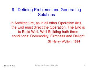 9 : Defining Problems and Generating Solutions