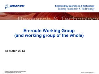 En-route Working Group (and working group of the whole)