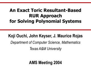 An Exact Toric Resultant-Based RUR Approach for Solving Polynomial Systems