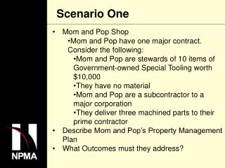 Mom and Pop Shop Mom and Pop have one major contract.  Consider the following: