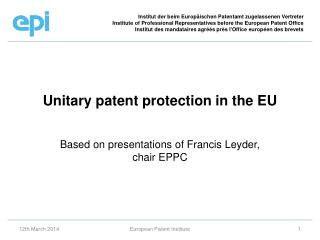 Unitary patent protection in the EU
