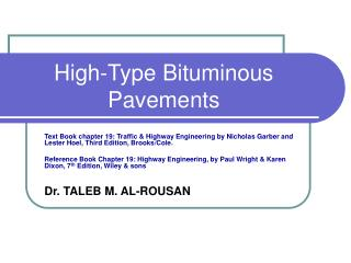 High-Type Bituminous Pavements