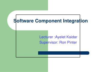 Software Component Integration