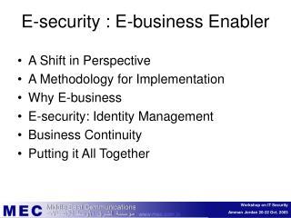 E-security : E-business Enabler