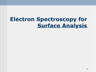 Electron Spectroscopy for Surface Analysis