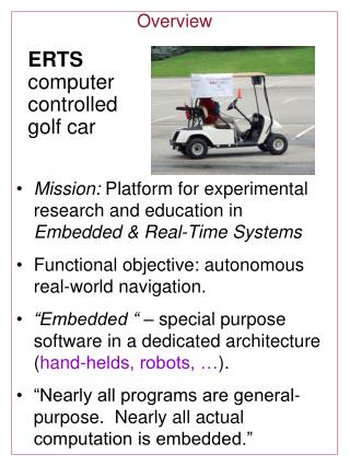 ERTS  computer controlled golf car