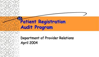 Patient Registration Audit Program